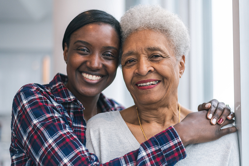 Senior woman spends precious time with adult daughter