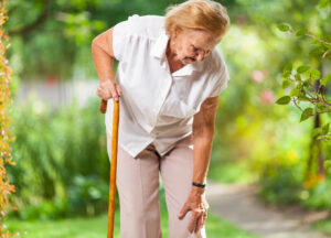 Stiff knee pain from osteoarthritis can make seniors unstable and at greater risk for falls.
